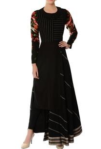 black-asymmetric-embroidered-kurta