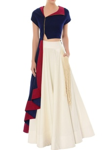 navy-blue-asymmetric-kurta-ivory-flared-skirt