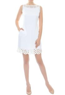 white-cutout-work-short-dress