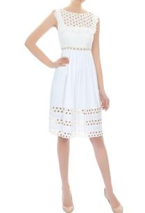 white-ruffled-cutout-dress