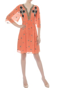 orange-embroidered-short-dress
