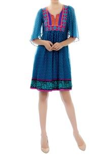 blue-printed-short-dress