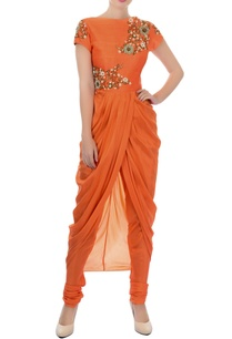 orange-embroidered-kurta-churidar