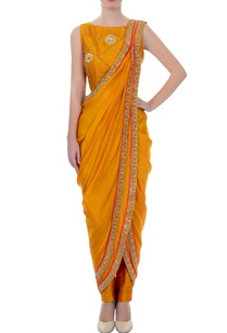 mustard-yellow-sari-with-pants-blouse