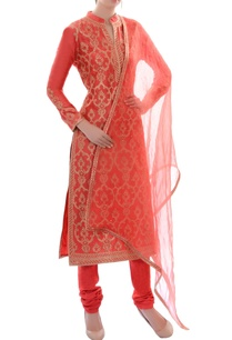 orange-embroidered-kurta-set