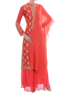 coral-pink-embroidered-kurta-set