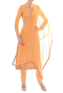 light-orange-embellished-kurta-set