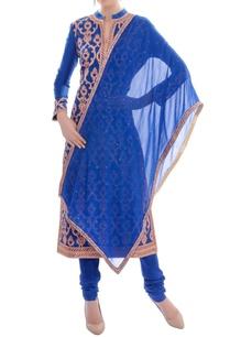 royal-blue-embellished-kurta-set