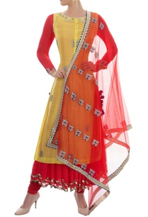 yellow-and-red-kurta-set