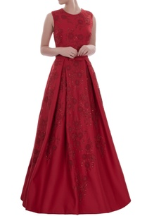 deep-red-sleeveless-gown-with-floral-sequins