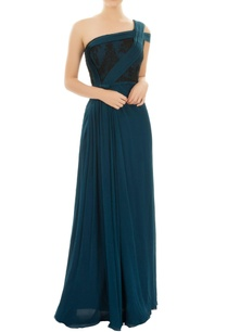 teal-one-shoulder-gown-with-pleated-details