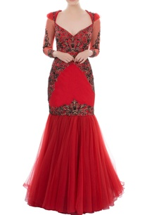 red-fit-flared-gown-with-sweetheart-neckline