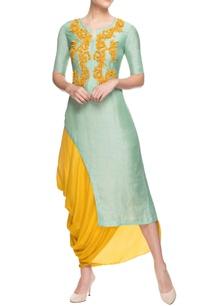 yellow-cowl-draped-skirt-with-kurta