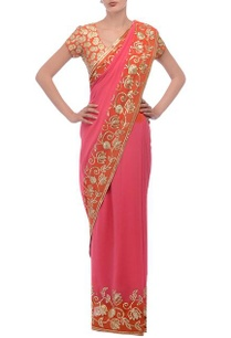 pink-orange-floral-embellished-sari