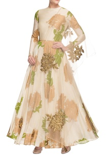 cream-printed-anarkali-set