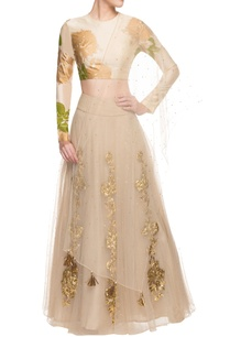 cream-floral-print-lehenga-set