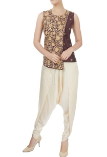 brown-layered-top-with-off-white-dhoti-pants