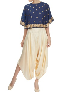 navy-blue-and-cream-cape-crop-top-layered-dhoti-set
