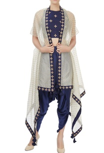 navy-blue-crop-top-and-dhoti-set-with-ivory-over-layer