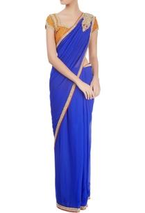 royal-blue-sari-with-orange-blouse