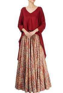 maroon-top-with-multi-print-skirt