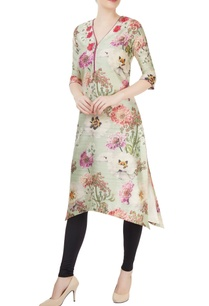 light-green-kurti-with-floral-print