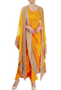 mango-yellow-embellished-sari-set
