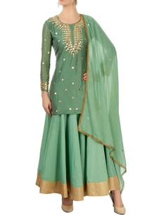 green-skirt-set-with-mirror-work