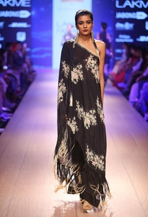 charcoal-floral-one-shoulder-dress-with-lounge-pants