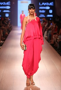 carnation-pink-layered-top-with-dhoti-pants