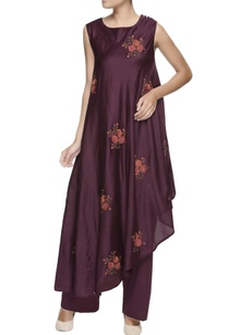 burgundy-embroidery-chanderi-kurta