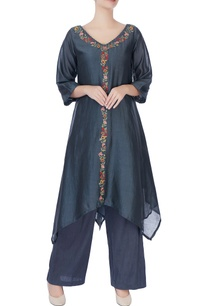 green-asymmetric-floral-kurta-pants