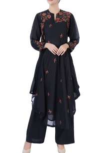 black-asymmetric-kurta-pants