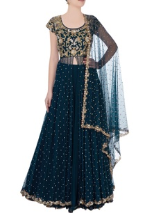 dark-green-lehenga-with-gemstone-pearl-embroidery