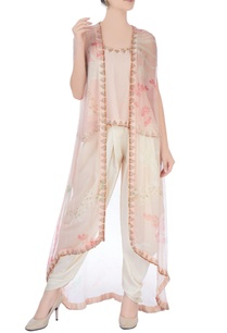 peach-white-dhoti-set-with-kimono