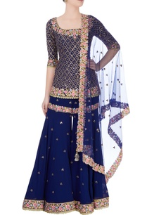 royal-blue-embroidered-kurta-sharara-set