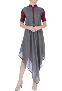 burgundy-gray-midi-dress-with-gold-zari-work