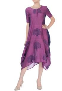 purple-navy-blue-midi-dress-in-peacock-motif-pattern