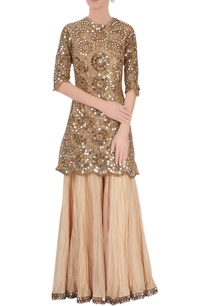 gold-mirrorwork-kurta-crinkled-sharara-pants