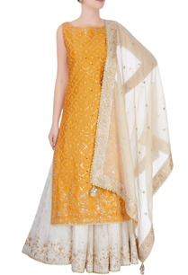 yellow-beige-kurta-set
