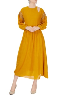 mustard-yellow-asymmetric-midi-dress