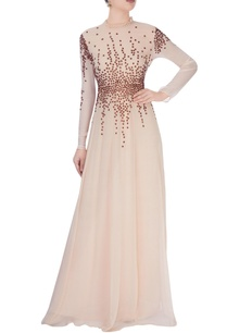beige-high-collar-gown-with-stud-details