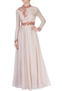 beige-high-collar-gown-with-shiny-bead-detailing