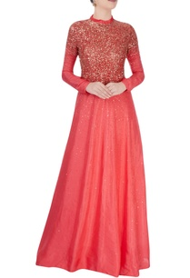 coral-red-ruffle-collar-gown-with-stud-details