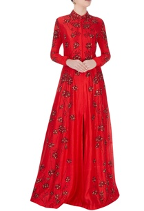 red-high-collar-gown-with-shiny-bead-detailing