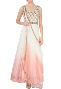 white-pink-shaded-gown