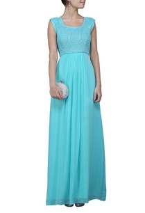 turquoise-sequin-embroidered-dress