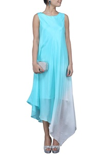 turquoise-white-ombre-asymmetrical-dress