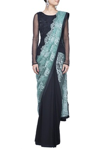 black-embellished-lace-sari-gown