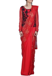 red-sari-gown-with-black-bead-embellishment